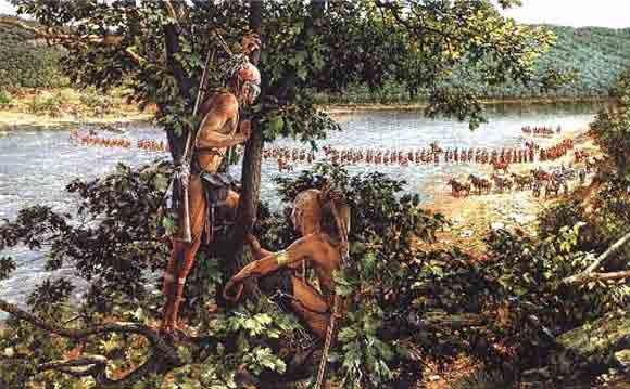 Indian scouts watch as General Braddock's troops cross a river towards their impending ambush.
