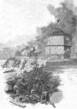 This etching depicts the Indian attack on Fort Presque Isle in 1763.