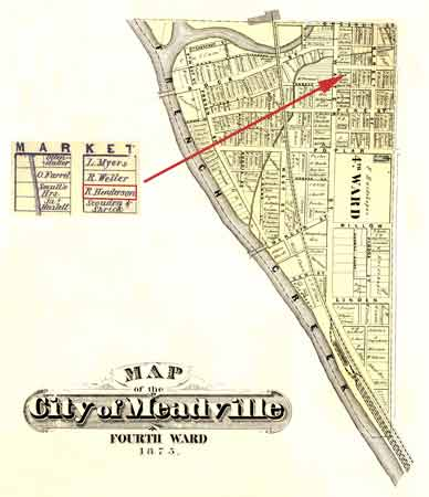 An 1875 map of Meadville shows the residence of Richard Henderson, where fugitive slaves were harbored.