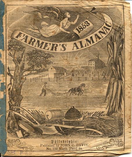 Cover of 1853 Farmers Almanac, Philadelphia, John B. Davis