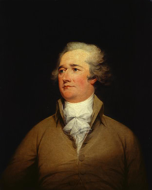 Oil on canvas of Alexander Hamilton, wearing a golden brown jacket and white ruffled shirt.