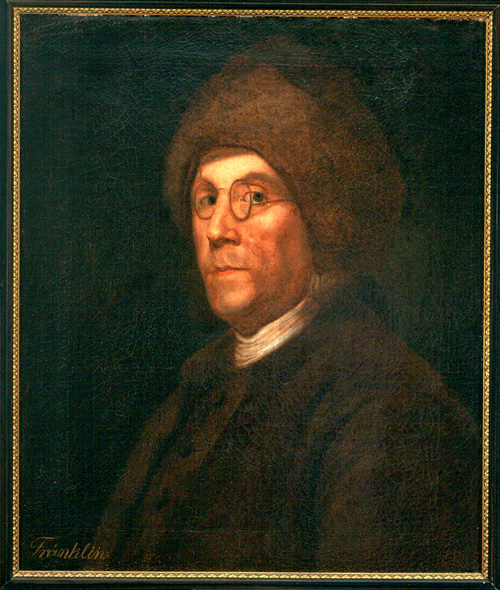 A oil on canvas portrait of Franklin, shown wearing his spectacles and the famous Canadian fur cap.