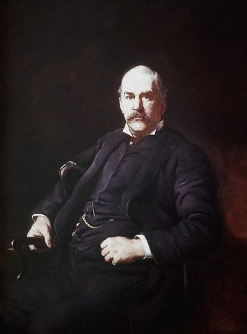 Oil on canvas portrait of John Pierpont Morgan.
