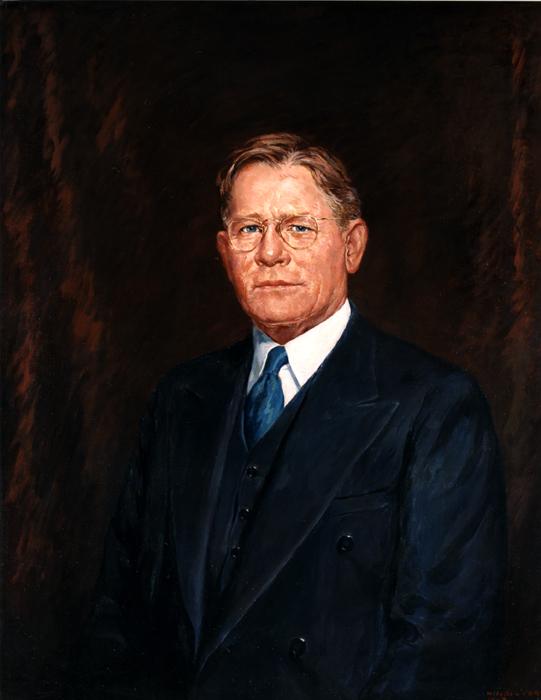 Oil on canvas of Arthur H. James.