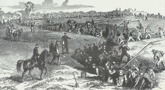This contemporary drawing shows Pennsylvania civilians digging of earthworks on Hummel Heights, a high point on the western bank of the Susquehanna River across from Harrisburg.
