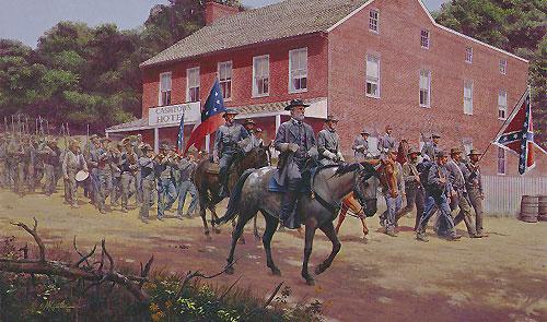 In his 1998 oil painting <i>Distant Thunder,</i> artist Mort Künstler depicts Robert E. Lee, on horseback, entering Cashtown, Pennsylvania, on July 1, 1863