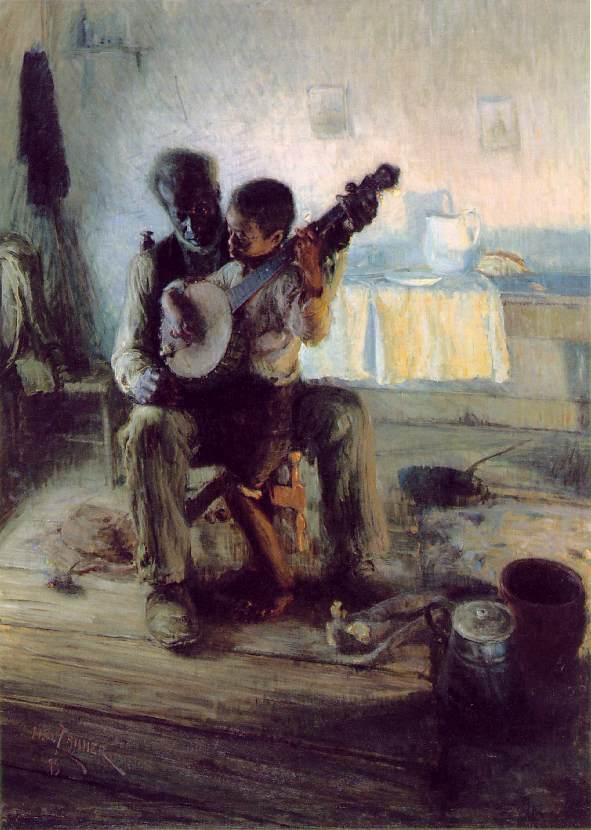 Oil painting of an older gentleman, with his young student sitting on his lap, while he teaches a lesson on the banjo.