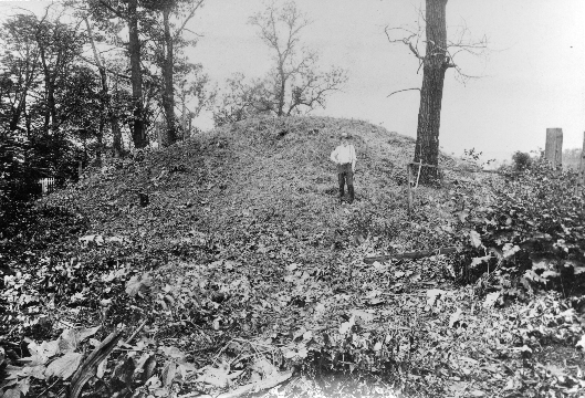 The mound with vegetation cleared before excavation began (July 1896).