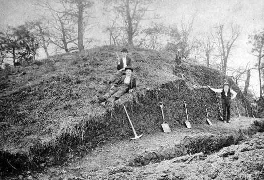 Initial excavation of the mound (July or August 1896) – person with long white beard and vest probably is Thomas Harper, the person who served as the main assistant of Frank H. Gerrodette.