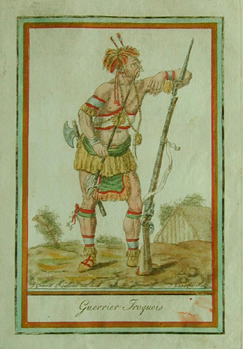 The warrior depicted here has been outfitted with a European musket, hatchet, pipe tomahawk, peace medal, and clasp knife