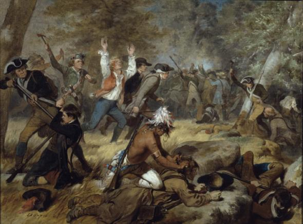 Battle scene of Massacre at Wyoming (Pennsylvania) Butler's Raid, July 3 to July 4, 1778, Wyoming Pa., 1858, by Artist: Alonzo Chappel (1828-1887).
