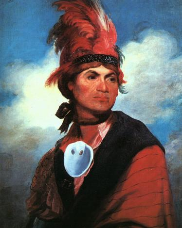 Oil on canvas of the charismatic chief of the Mohawk, Joseph (Thayendanegea) Brant.