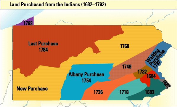 Map of Pennsylvania lands ceded at Fort Stanwix Treaty, 1768.