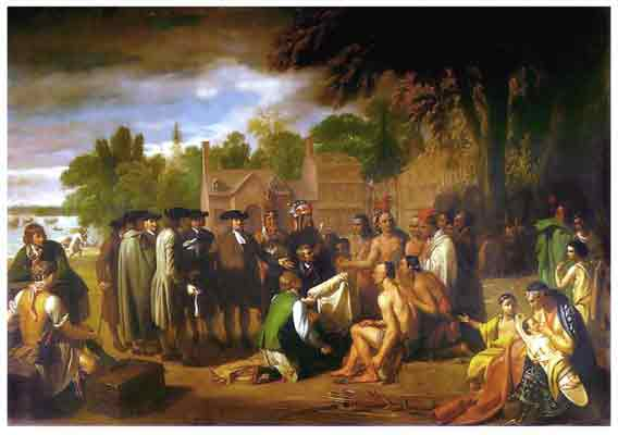 Oil painting of William Penn leading a group of his peers into a discussion with a group of Native Americans.
