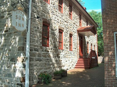 The <i>Old Sun Inn</i> on Main Street. This building dates from Bethlehem's earliest colonial days in the mid Eighteenth Century