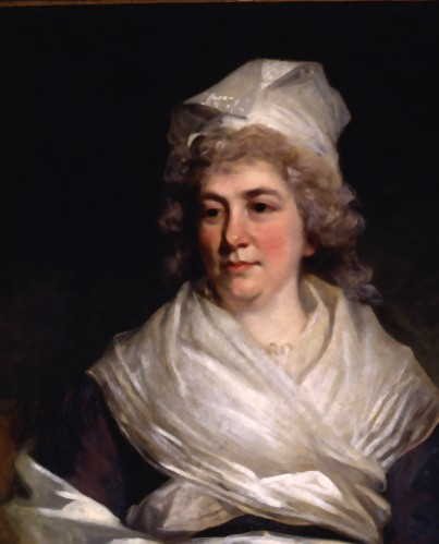 Oil on canvas of Sarah Franklin wearing a black dress and a head scarf and shoulder shawl of what appears to be beige silk.