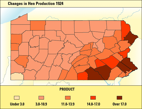 Color coded map detailing changes in Hen Production 1924.