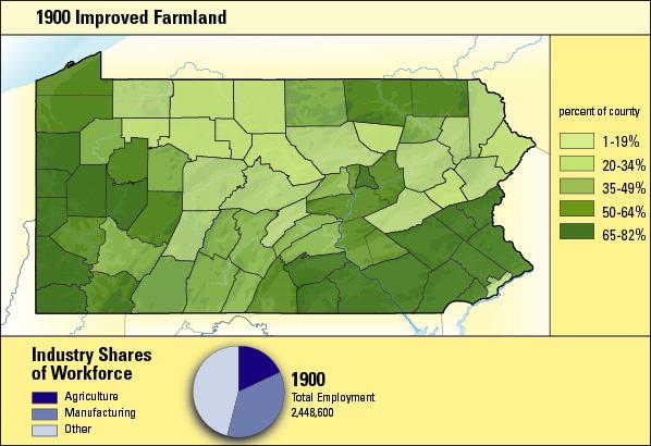 Color coded Pennsylvania County maop