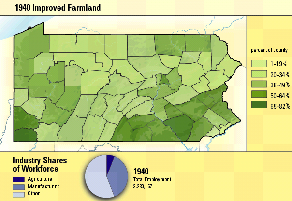 Color coded Pennsylvania County Map depicting Improved Farmland, 1940.