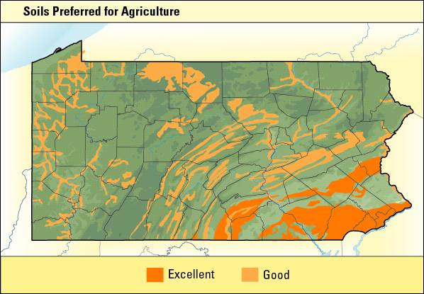 Color coded map of soils preferred for Agriculture.
