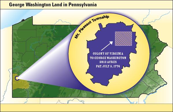 Map indicating George Washington Land in Pennsylvania.