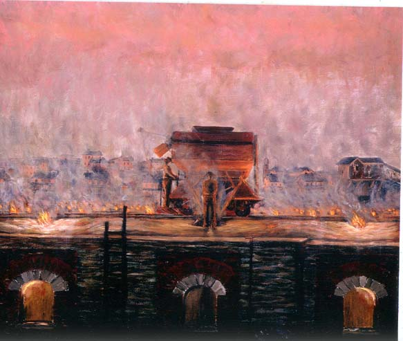 Oil on canvas depicting a vista, which appears to be a great inferno, with even the sky and tiny houses in the background illuminated by the pinkish-red flames of the coke oven.