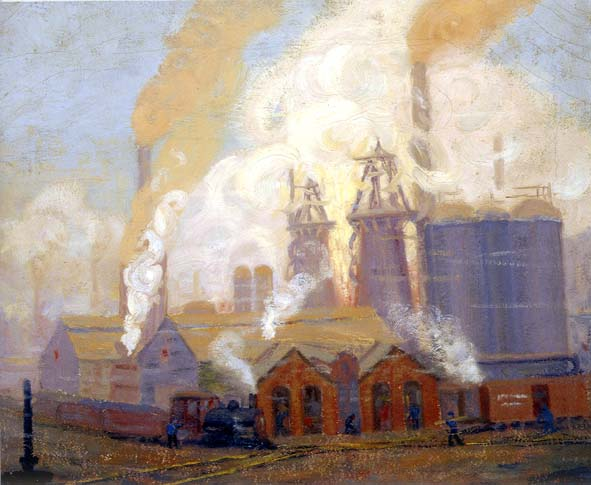 Dark oil on canvas of Lucy Furnace with billowing smoking from the stacks. An train engine pulling cars is the left foreground.