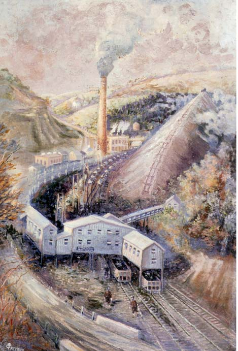 This oil on canvas depicts a mining operation. A sign on the entrance reads Clymer No. 1 Mine of the CBC Corporation, located in Indiana, Pennsylvania.
