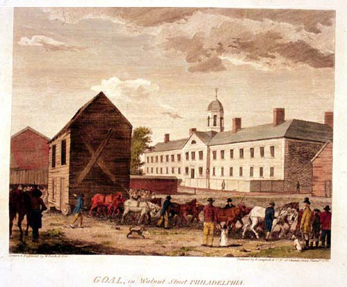 Birch watercolor of the Philadelphia Walnut Street Jail.