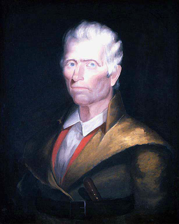 Oil on canvas of Daniel Boone, head and shoulders.