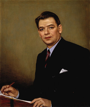 Oil on canvas of head and shoulders of Hammerstein wearing a black suit with a blue shirt. He holds a pen and pad in his hands.