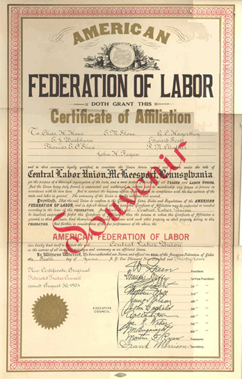 "Original Charter for ""Federated Trades Council,"" Issued August 30, 1901."