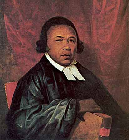 Oil on paper portrait of Absalom Jones wearing a black robe and a white collar.
