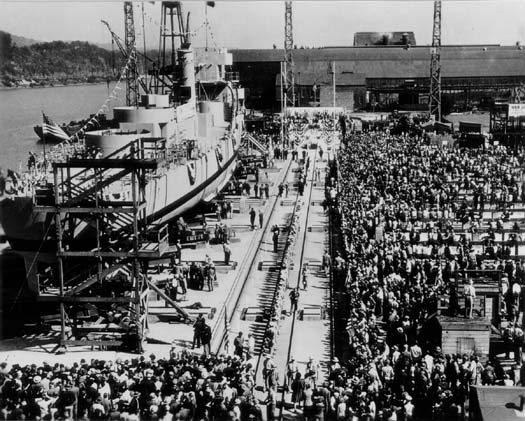 This photograph was taken at the launch of this ship on Memorial Day, 1944.   U.S.S. Jenks celebration