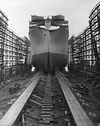 Sliding down the ways at the Sun Shipping and Dry Dock Company in Chester, Pennsylvania, is the first ship conceived and constructed by all African-American  labor.