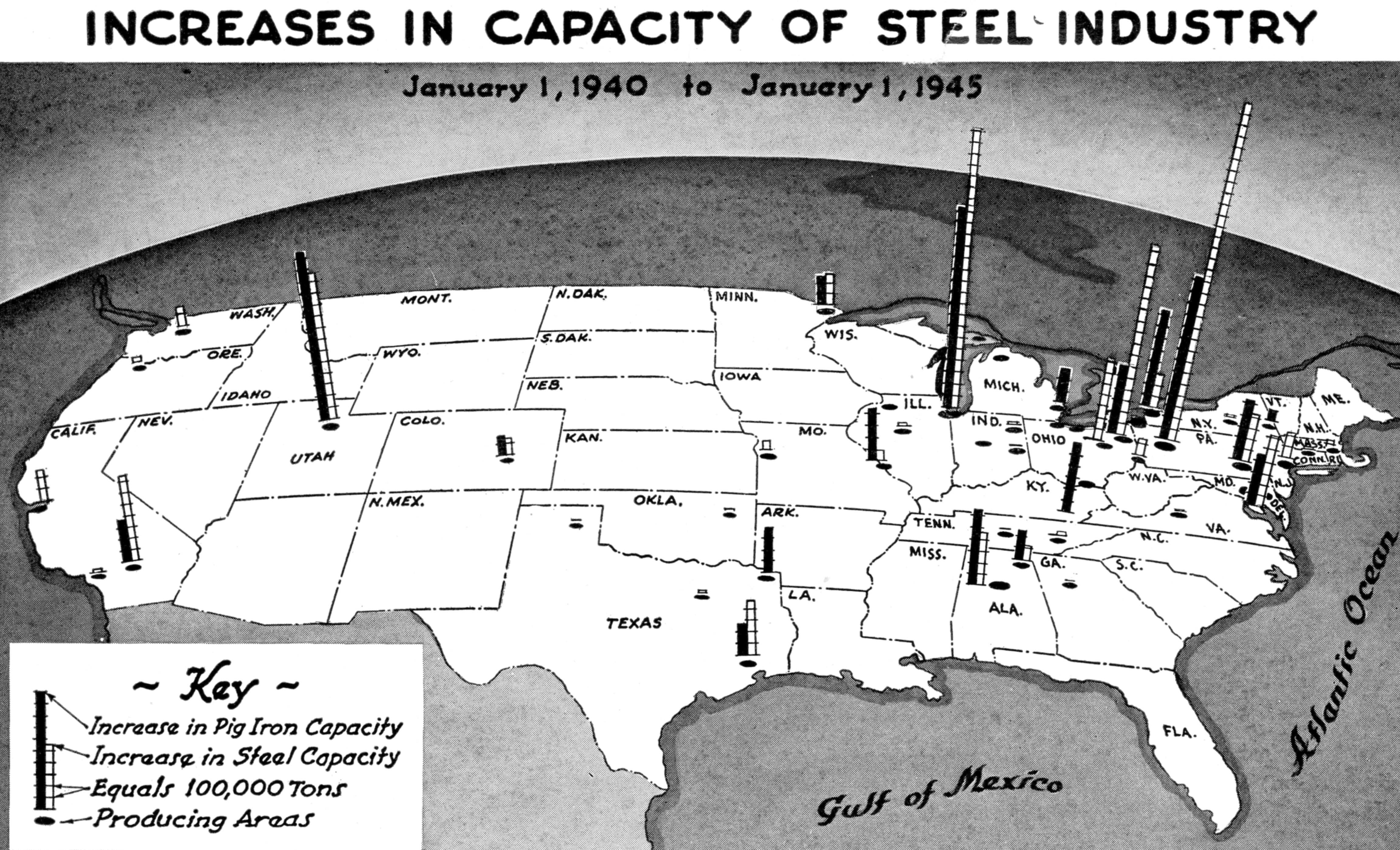 Map Of Us With Histograms Of Steel Production 1940 1945