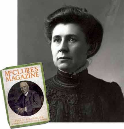 A portrait of Ida Tarbell and an inset photograph of a cover of McClure's Magazine with John D. Rockefeller's portrait.