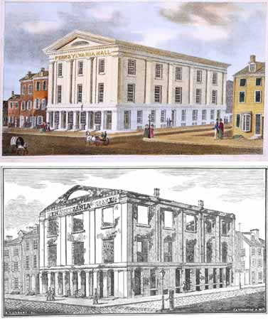 Two images of Pennsylvania Hall. The top image is of the building before destruction and the bottom image is of destruction of Pennsylvania Hall.