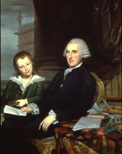 Oil on canvas of McKean seated, wearing a formal suit and powered wig. His son sits next to him, wearing a green velvet suit with a laced collar.