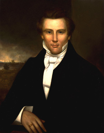 Oil on canvas of Joseph Smith wearing a black suit with white, high collared shirt.