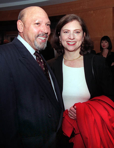 August Wilson with his wife, Constanza Romero, at the O'Reilly Theater in Dec. 1999.