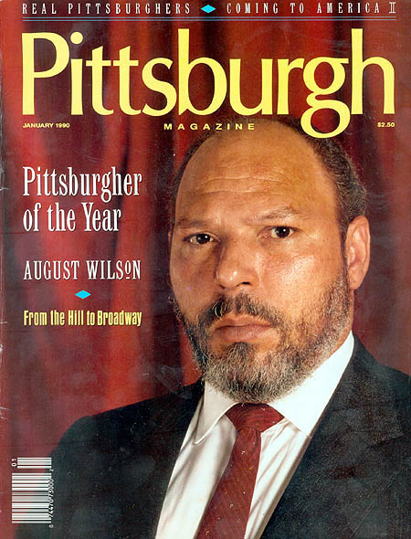 Cover image of Pittsburgh Magazine, 1990 featuring a head and shoulders image of August Wilson.