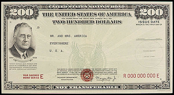 An image of a two hundred dollar war bond.