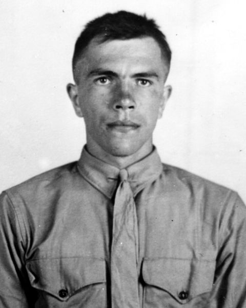 Black and white photograph of Michael Strank in his uniform.