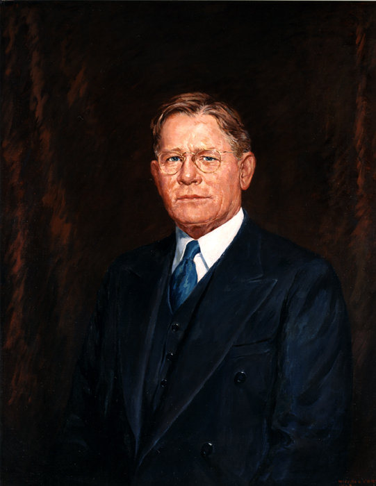 Oil on canvas of Arthur H. James, Governor of Pennsylvania, head and shoulders.