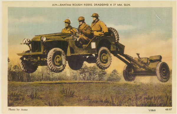 Shots of airborne jeeps are common; here, a leaping Bantam BRC-60 tows an anti-tank gun too.