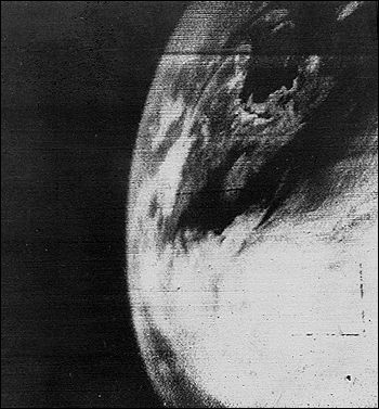 This black and white photograph of earth is the first televised picture from space.
