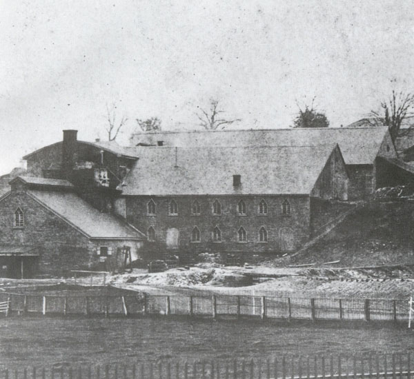 Buildings at Cornwall Furnace were constructed of red sandstone, found in the area. The durable stone construction helped preserve the buildings.